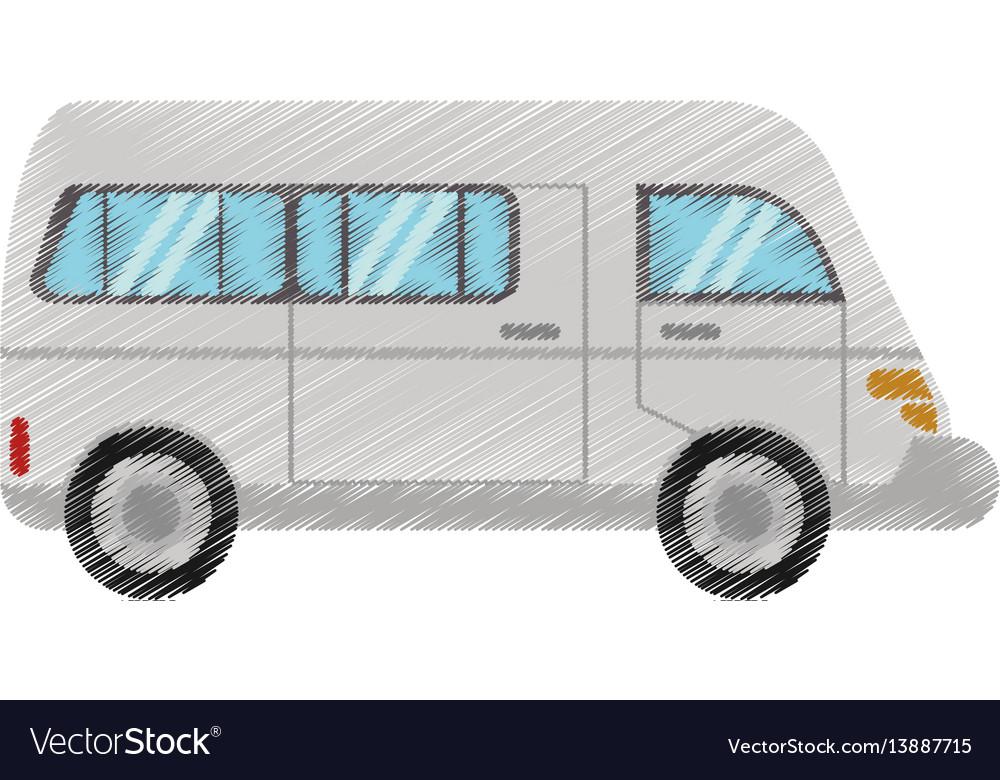 Drawing van transport vehicle urban vector image