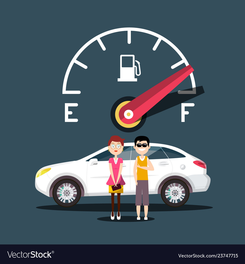 Fuel icon with car and people design