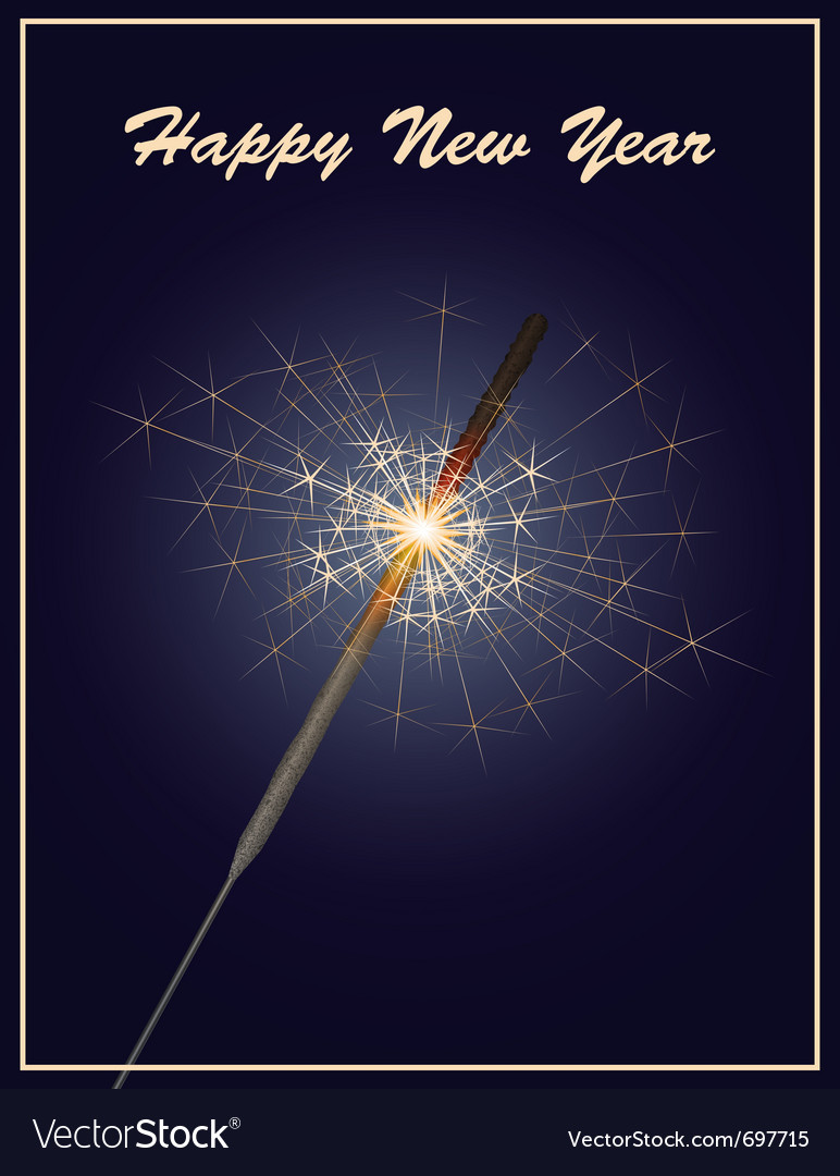 Happy new year greeting card with sparkler on dark