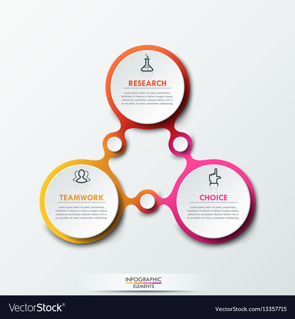Infographic design template with 3 connected