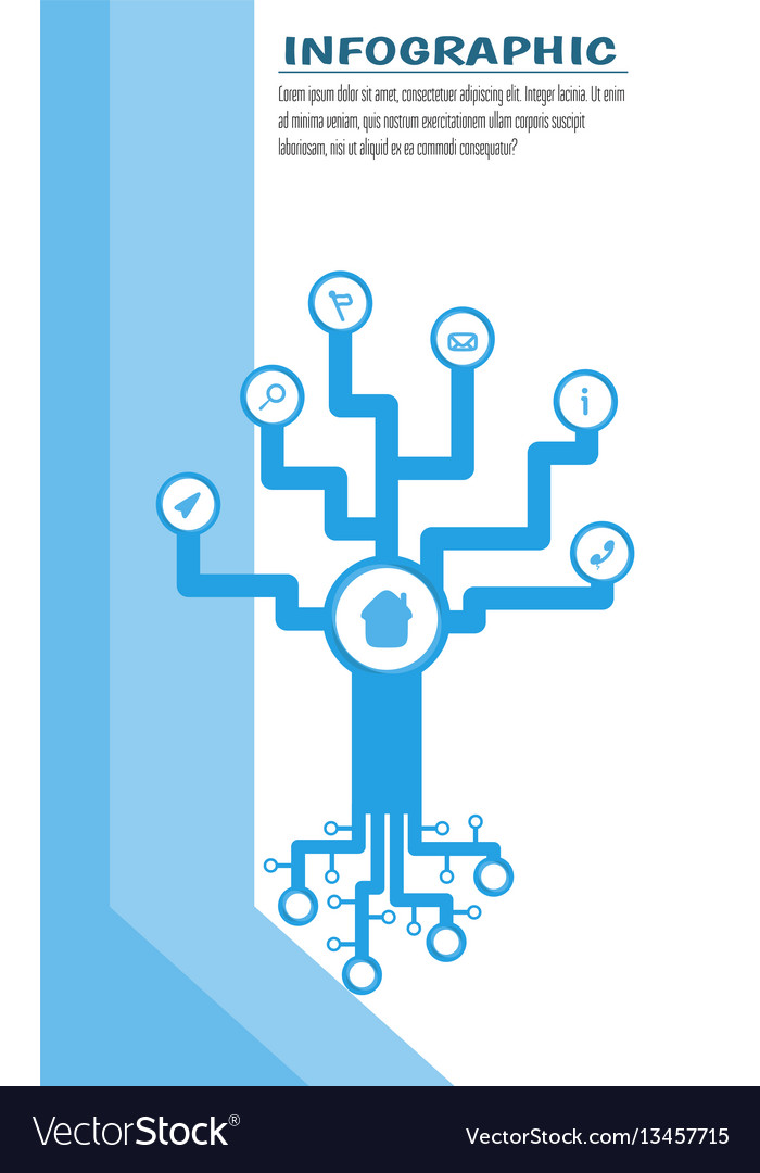 Infographic tech tree with round space for symbol vector image