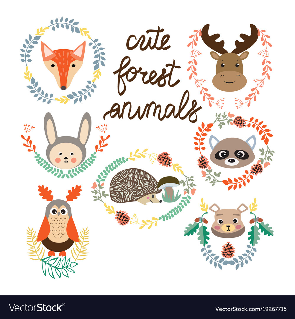 Set of cute forest elements animals and plants
