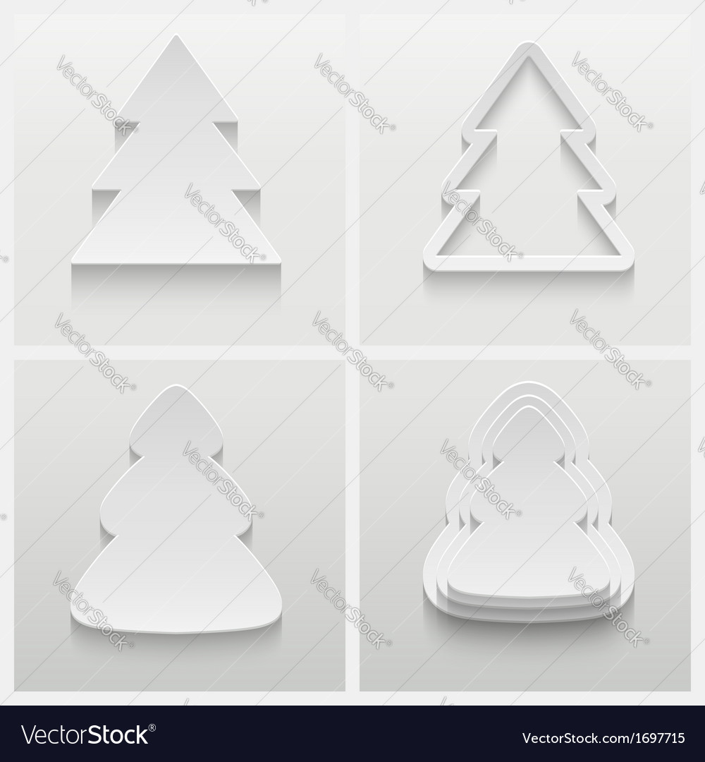 Set of four 3d christmas trees