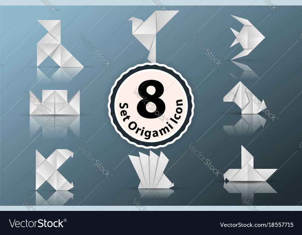 Set paper origami icon