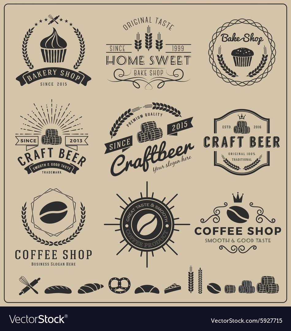 Sets of bake shop craft beer coffee shop logo