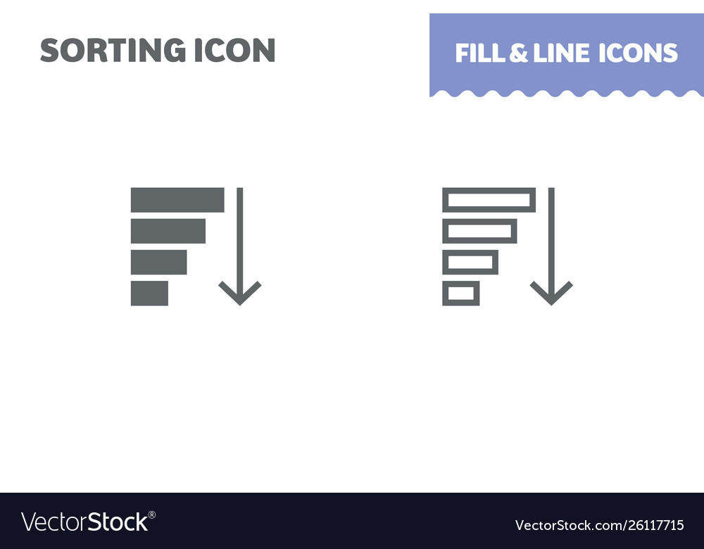 Sorting icon fill and line flat design