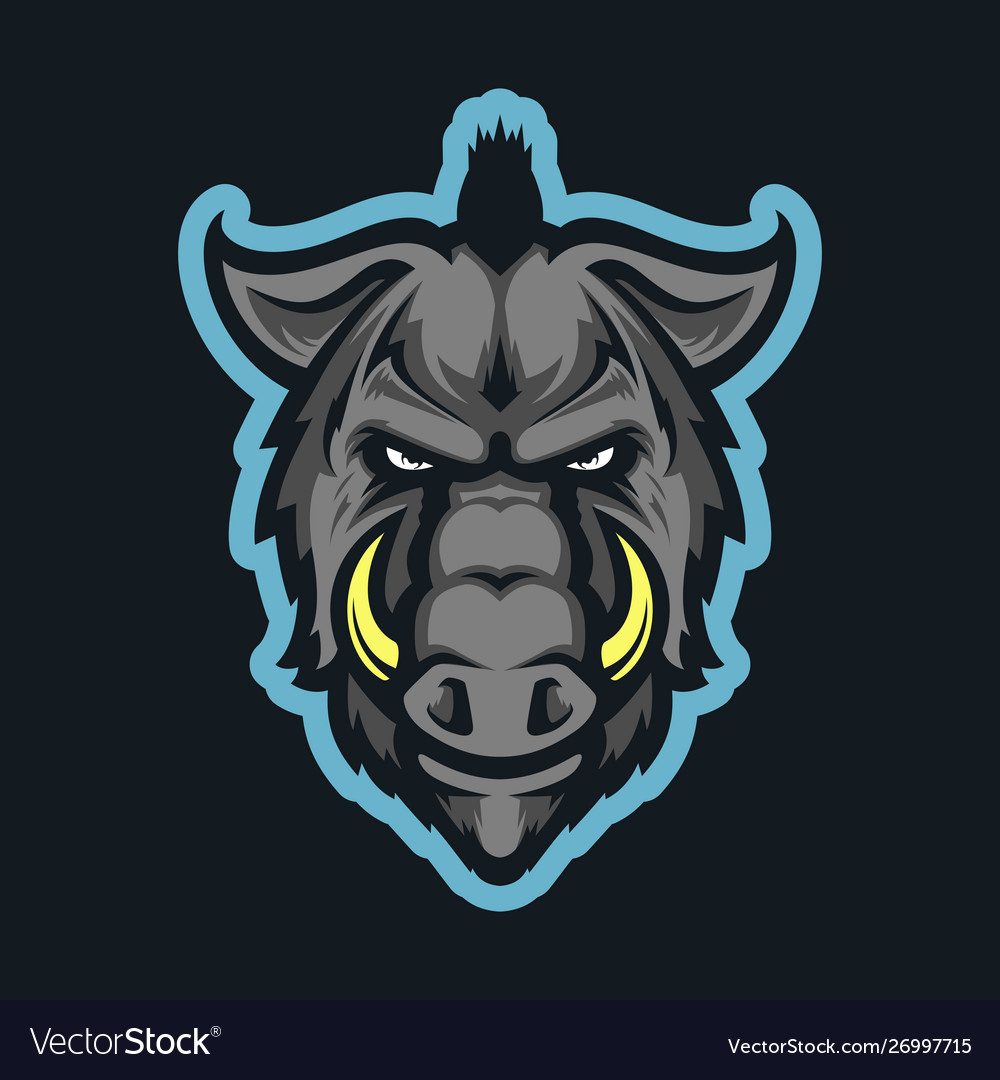 Wild hog head mascot vector