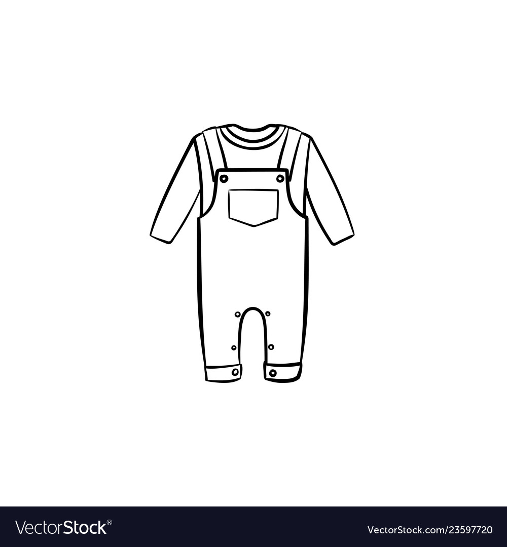 Baby overall shirt and pants hand drawn outline