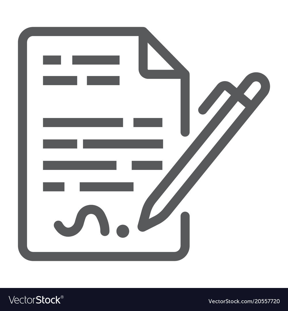 contract line icon agreement and signature vector image