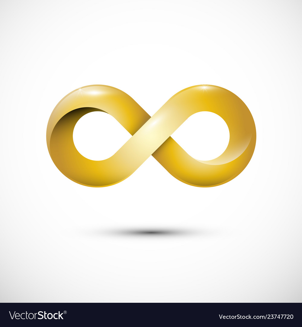 Infinity love symbol golden loop icon gold