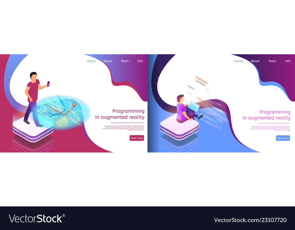 Isometric An Online Map Writing Code Royalty Free Vector
