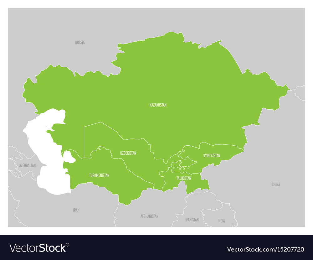 map of central asia region with green highlighted vector image on vectorstock