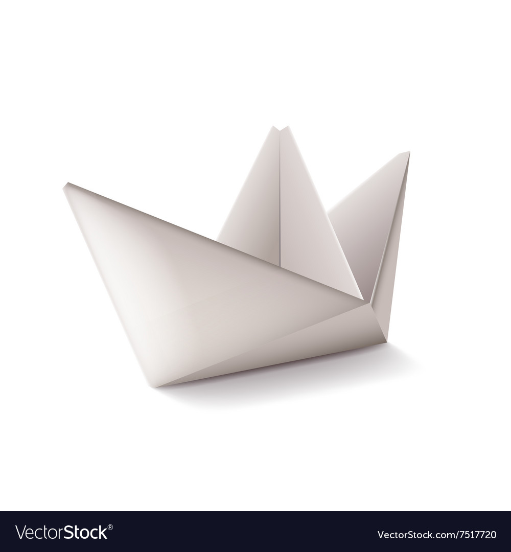 Origami ship isolated on white vector image