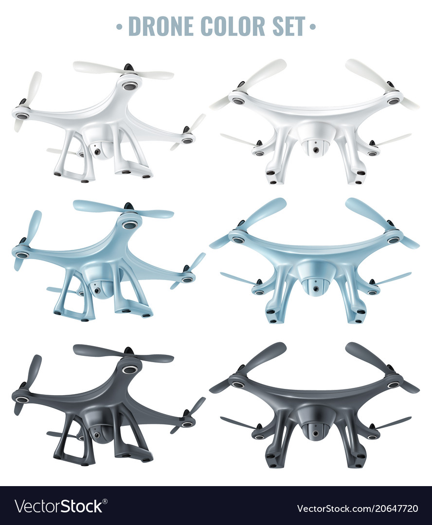 Realistic drone set vector image
