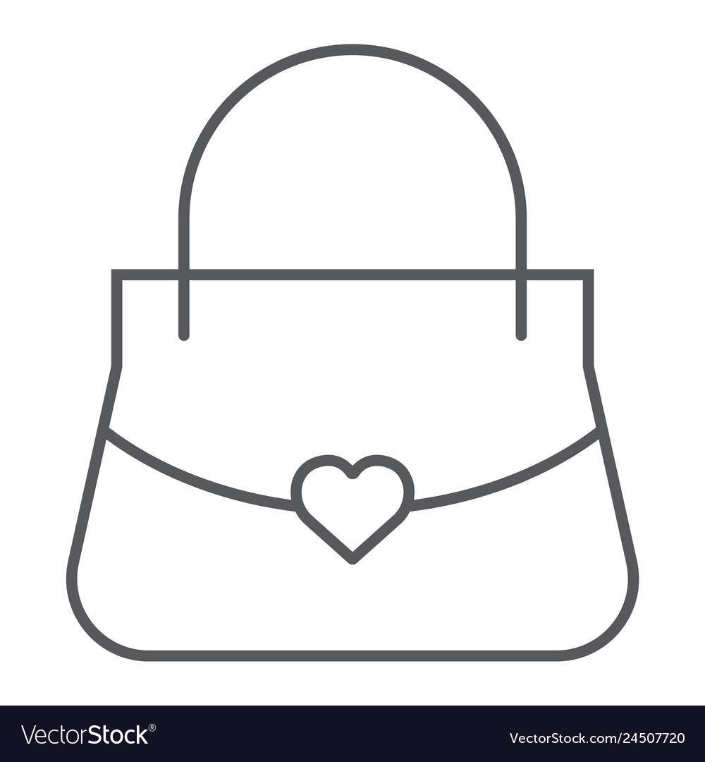 Women bag thin line icon girl and purse handbag