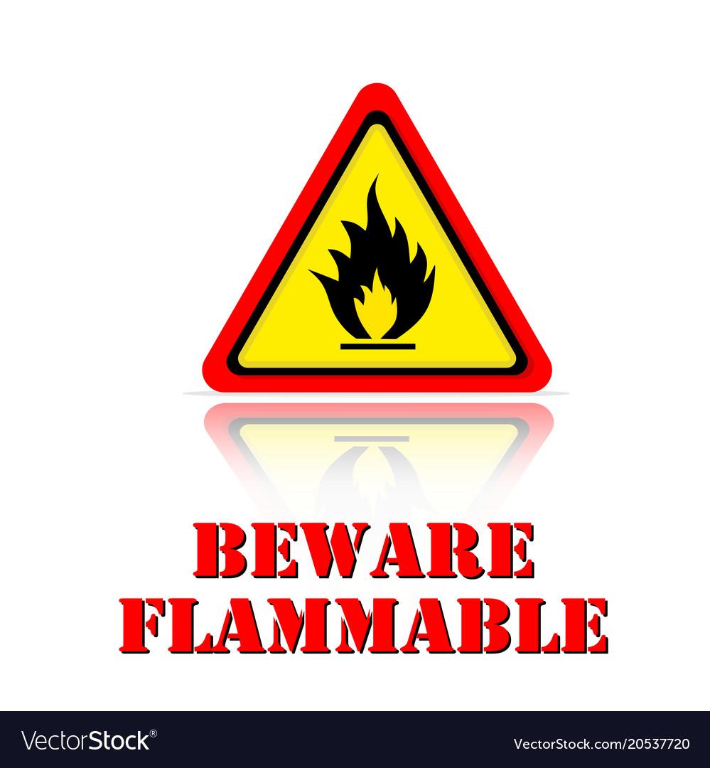 Yellow warning beware flammable icon background ve