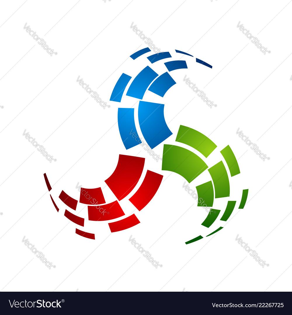 Abstract tech logo design template molecule