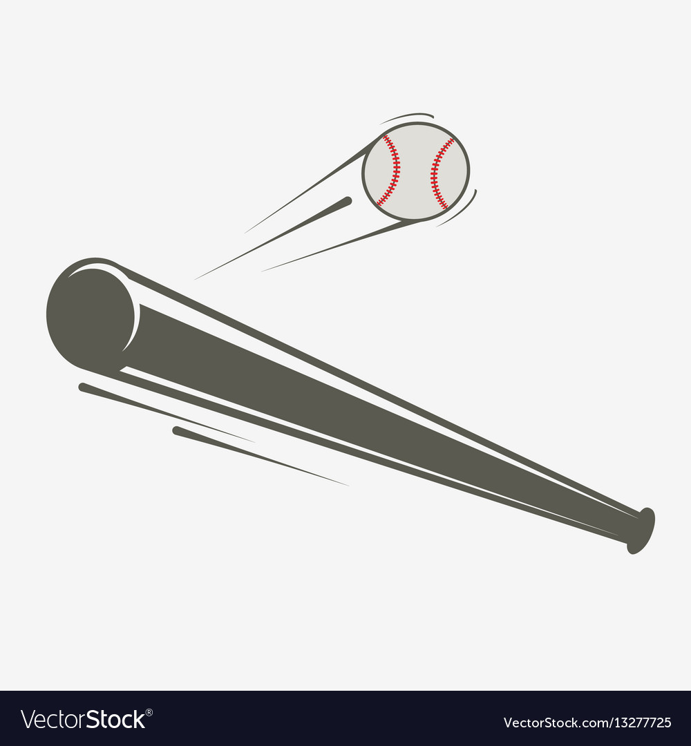 Baseball bat and ball simple vector image