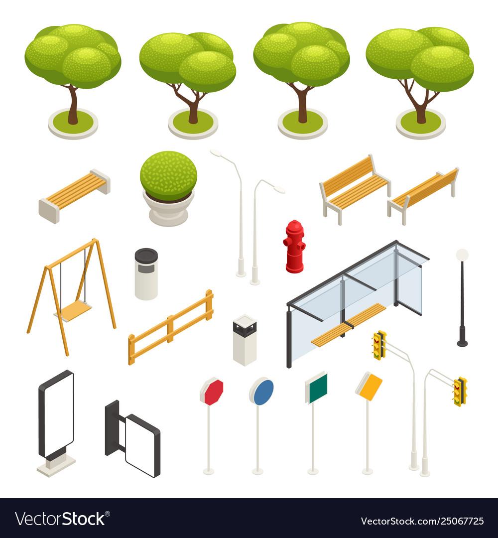 City map elements constructor isometric icon set