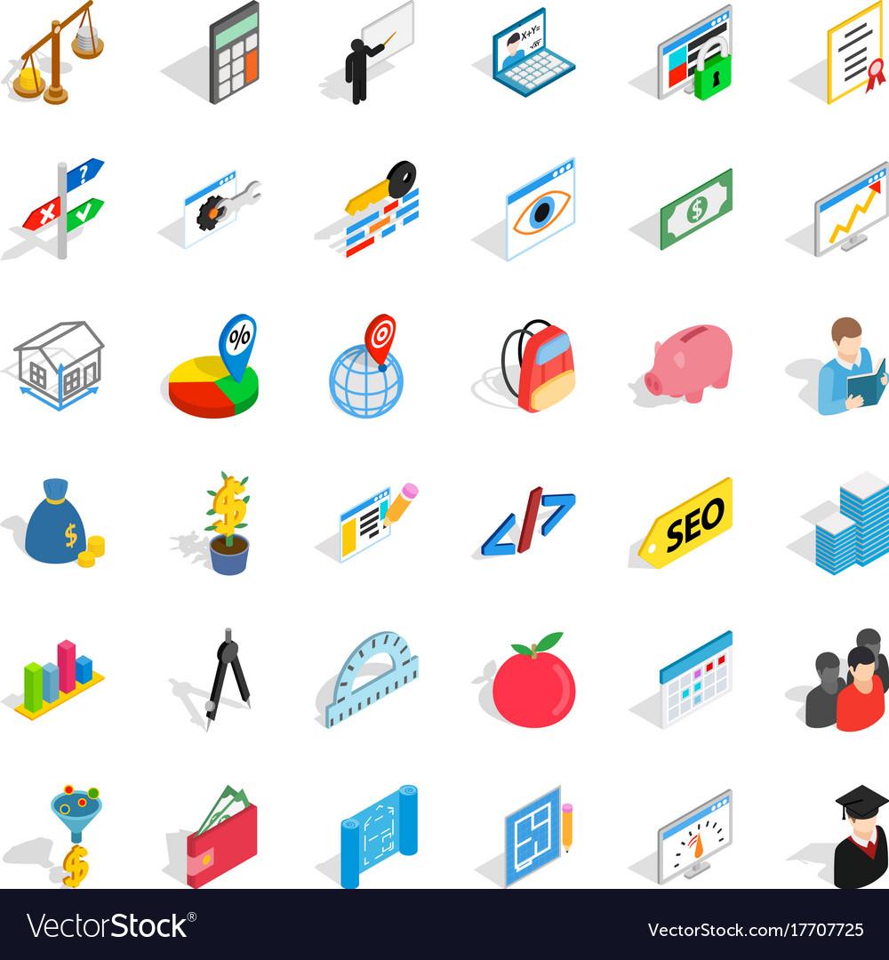 Counter icons set isometric style