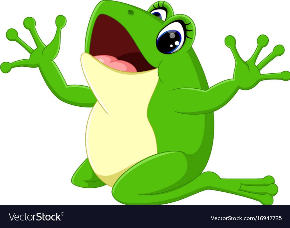 cute frog cartoon royalty free vector image vectorstock rh vectorstock com Cute Frog Silhouette Vector The Crocodile