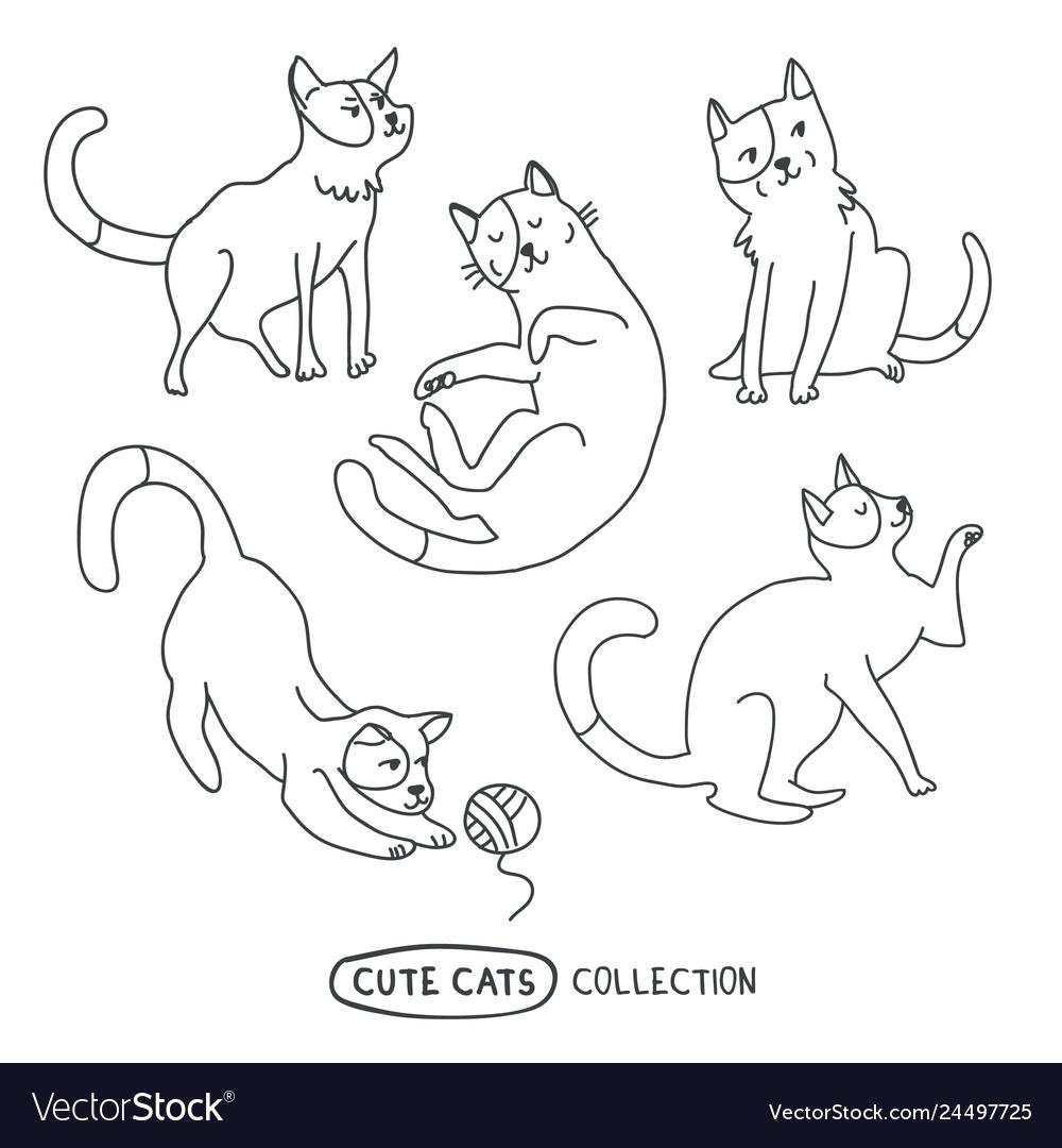 Cute funny cats set