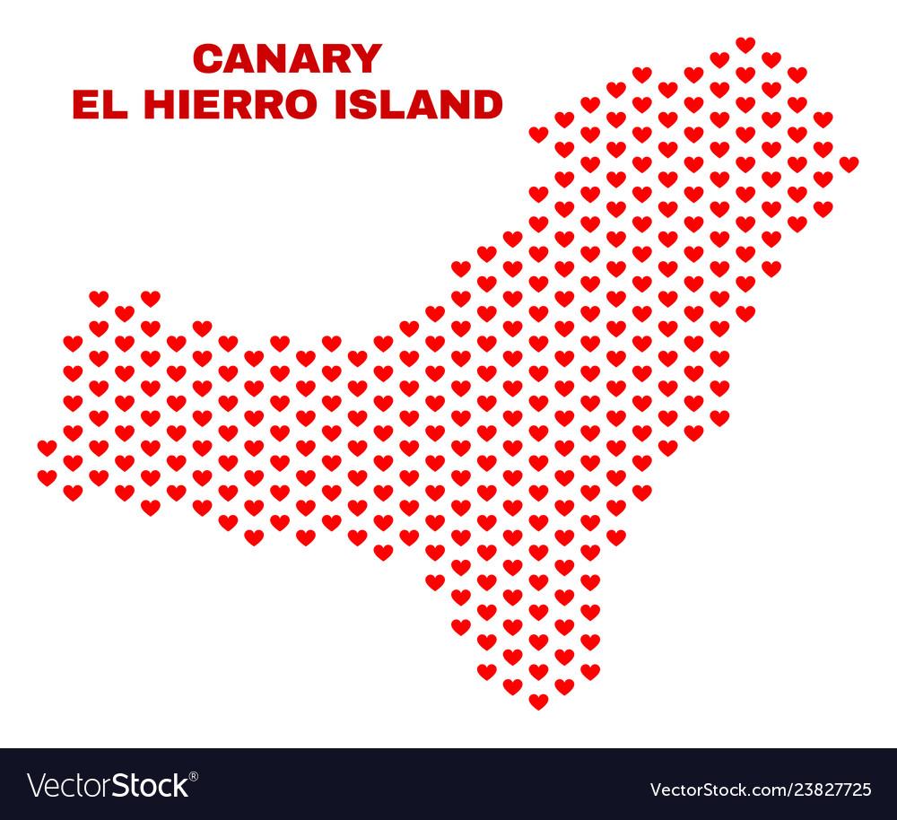 El hierro island map - mosaic of lovely hearts