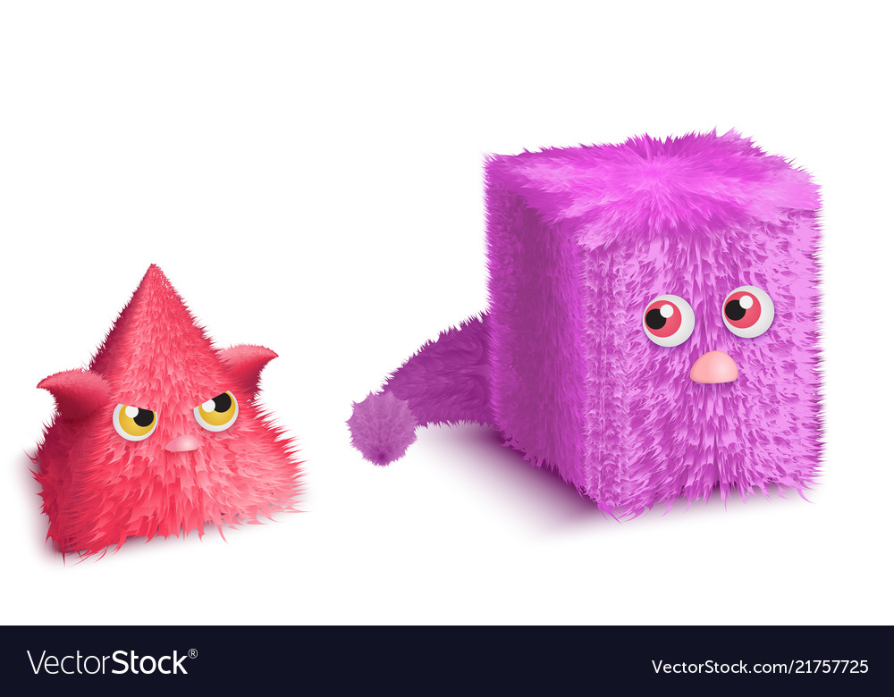 Funny cartoon triangle and rectangle monsters