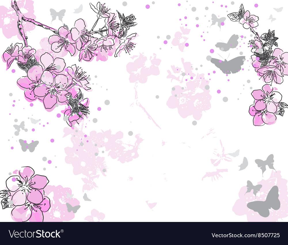 Hand Drawn Purple Floral Background