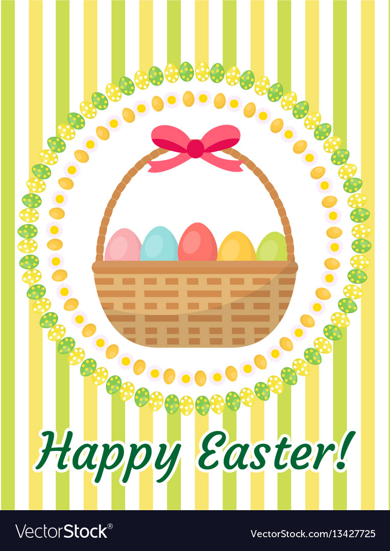 Happy easter greeting card flyer poster with a