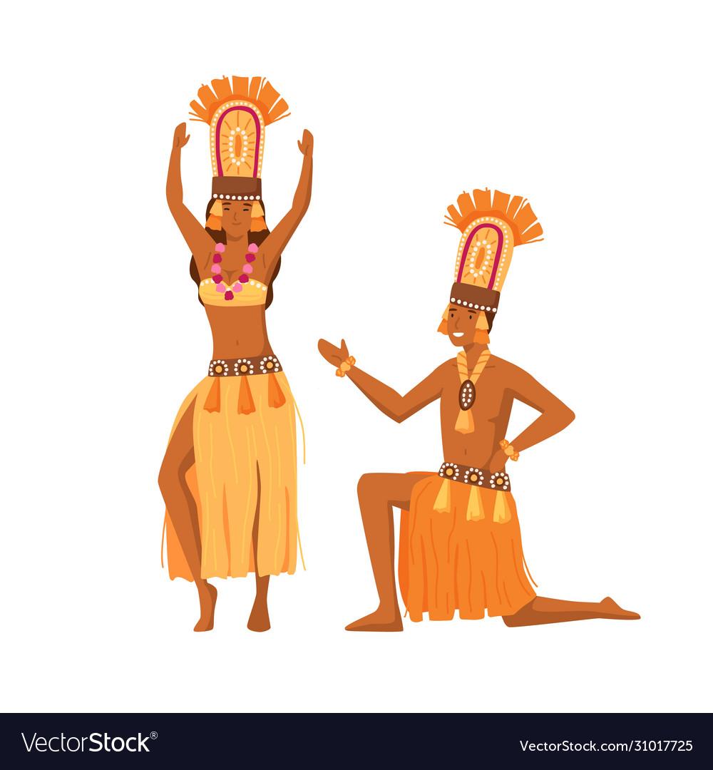 Smiling cartoon aboriginal man and woman dancing