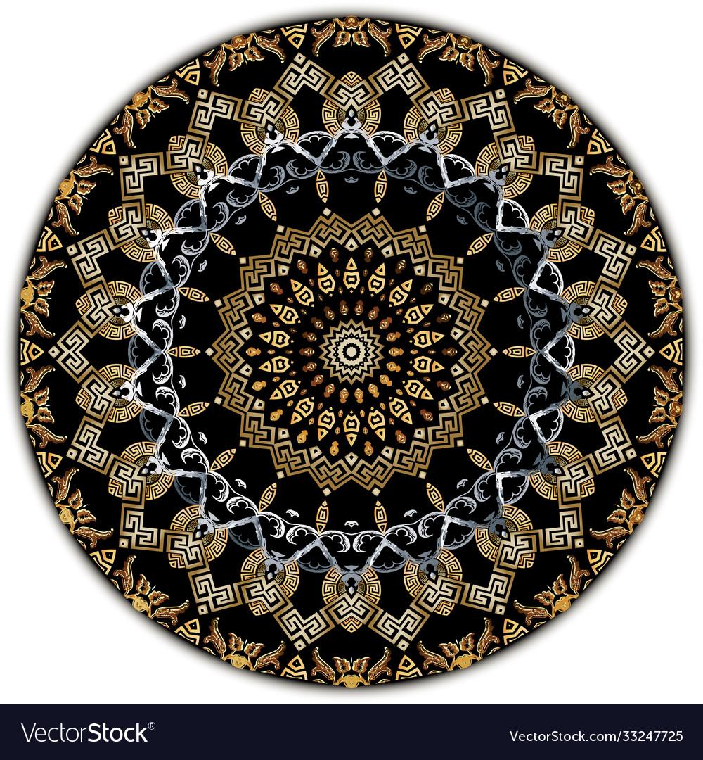 Vintage mandala pattern ornamental greek floral