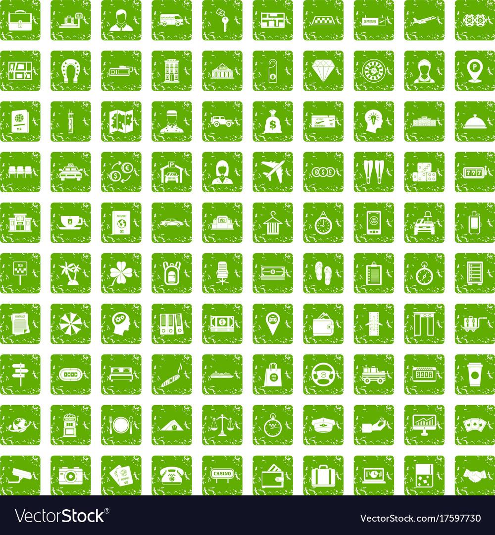 100 paying money icons set grunge green