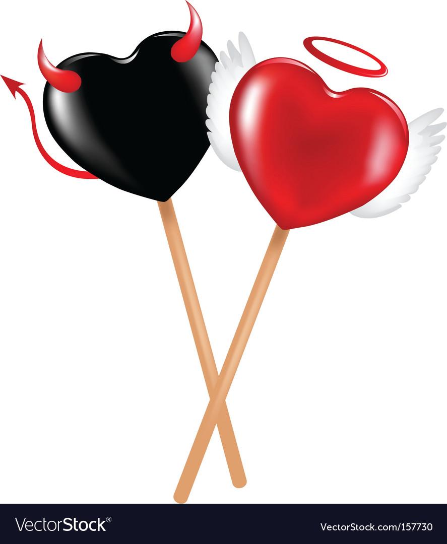 Angel and demon lollipops vector image