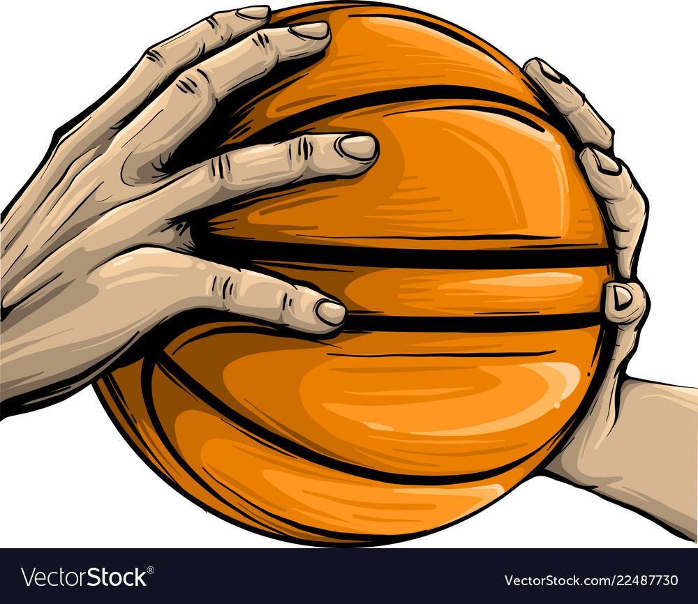 Hand and basketball isolated on white