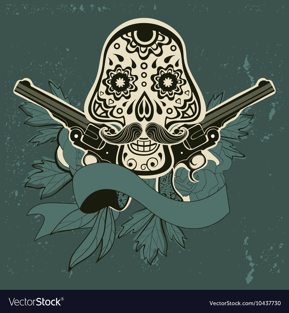 Hand drawn sugar skull with flowers and guns