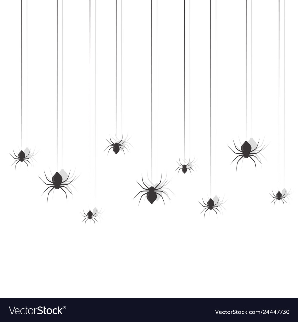 Hanging spiders halloween sing design set