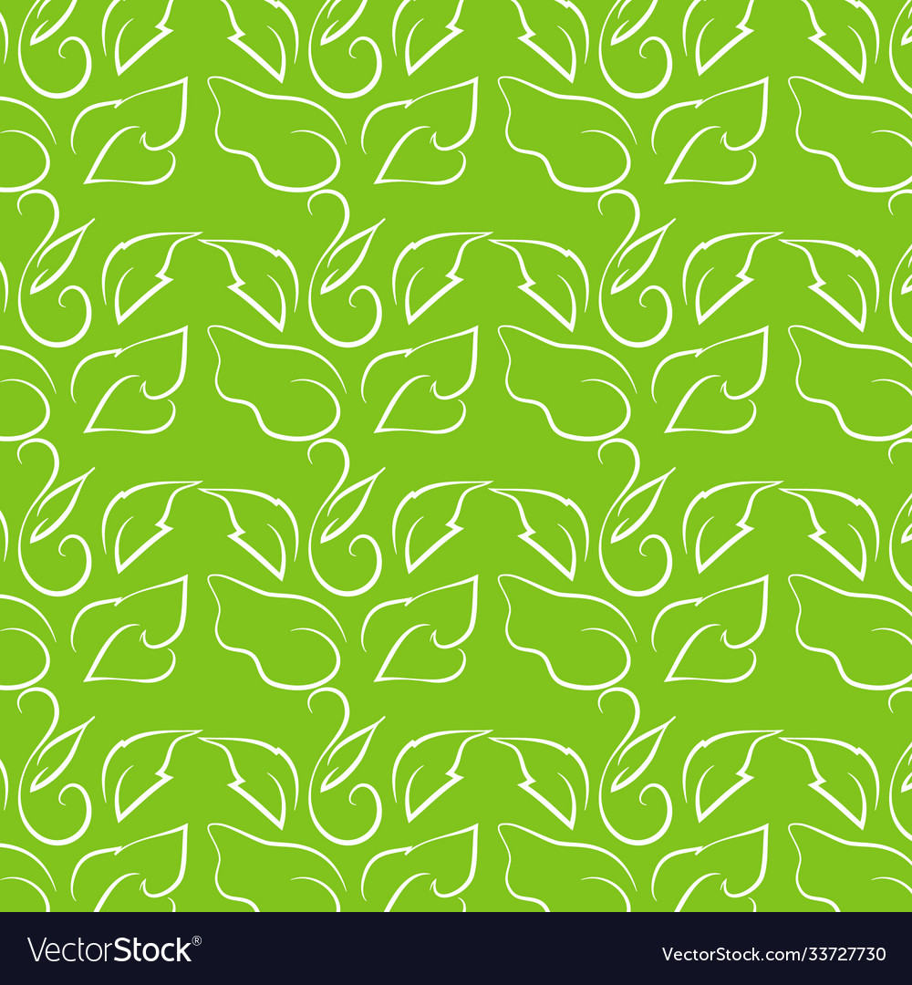 Leaf line drawing on bright green background