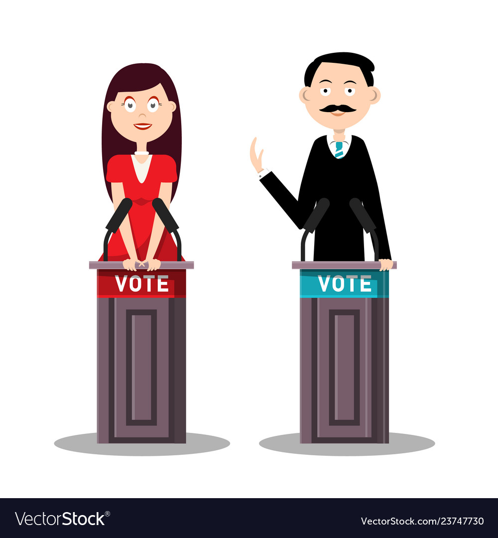 Man and woman candidates with lecterns and vote