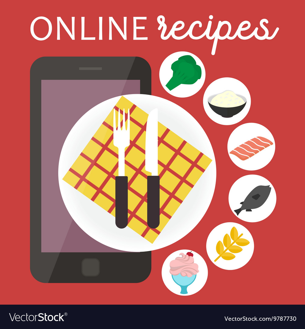 Online cooking recipes application flat