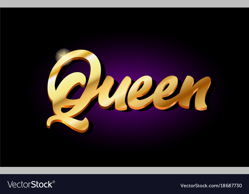 Queen 3d gold golden text metal logo icon design