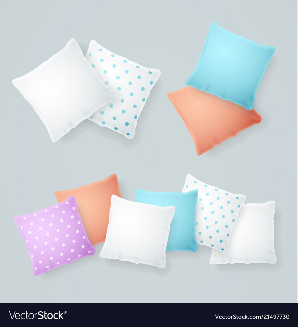 Realistic detailed 3d color and white pillows set