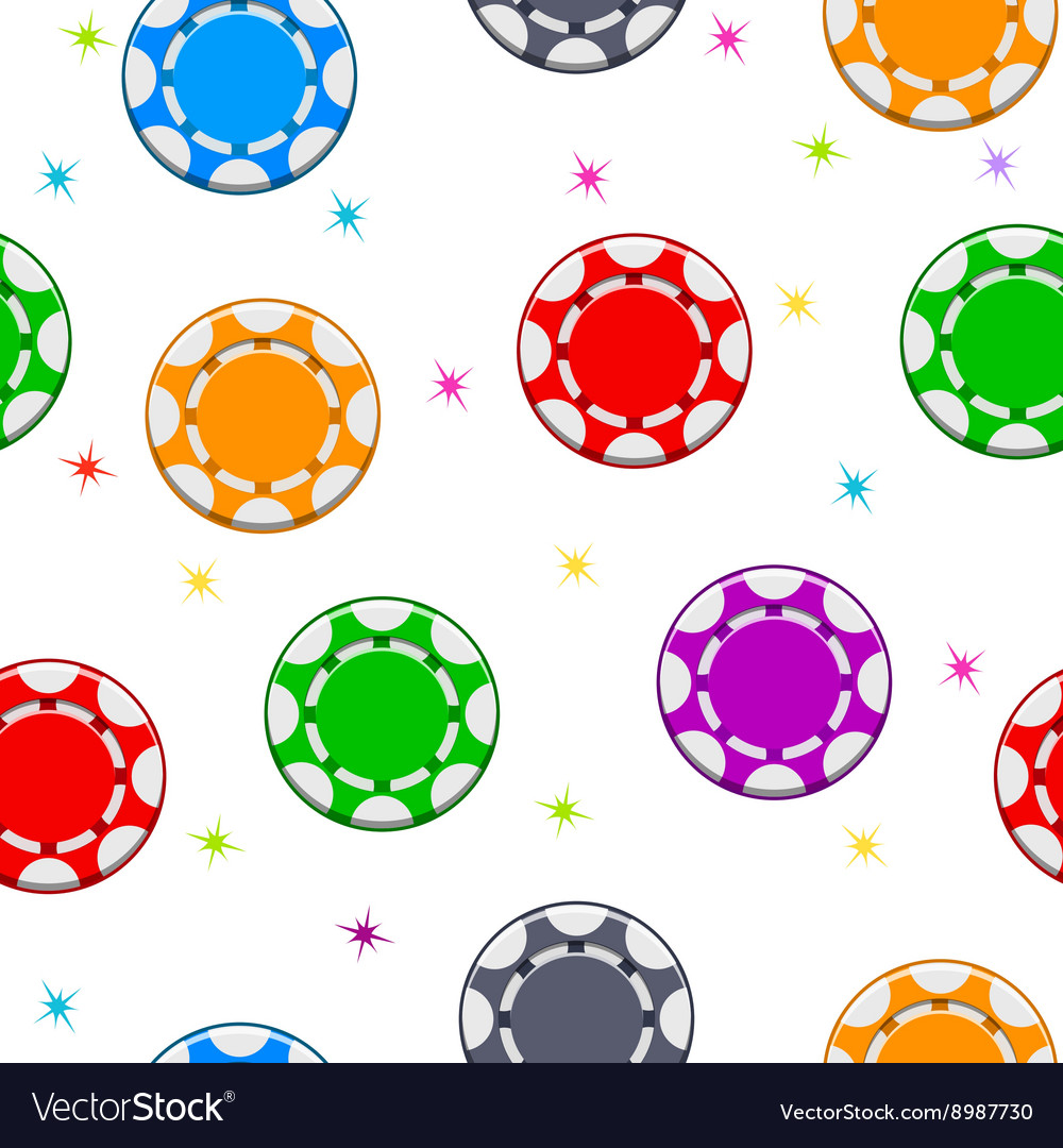 Seamless pattern with Colors Poker Chips