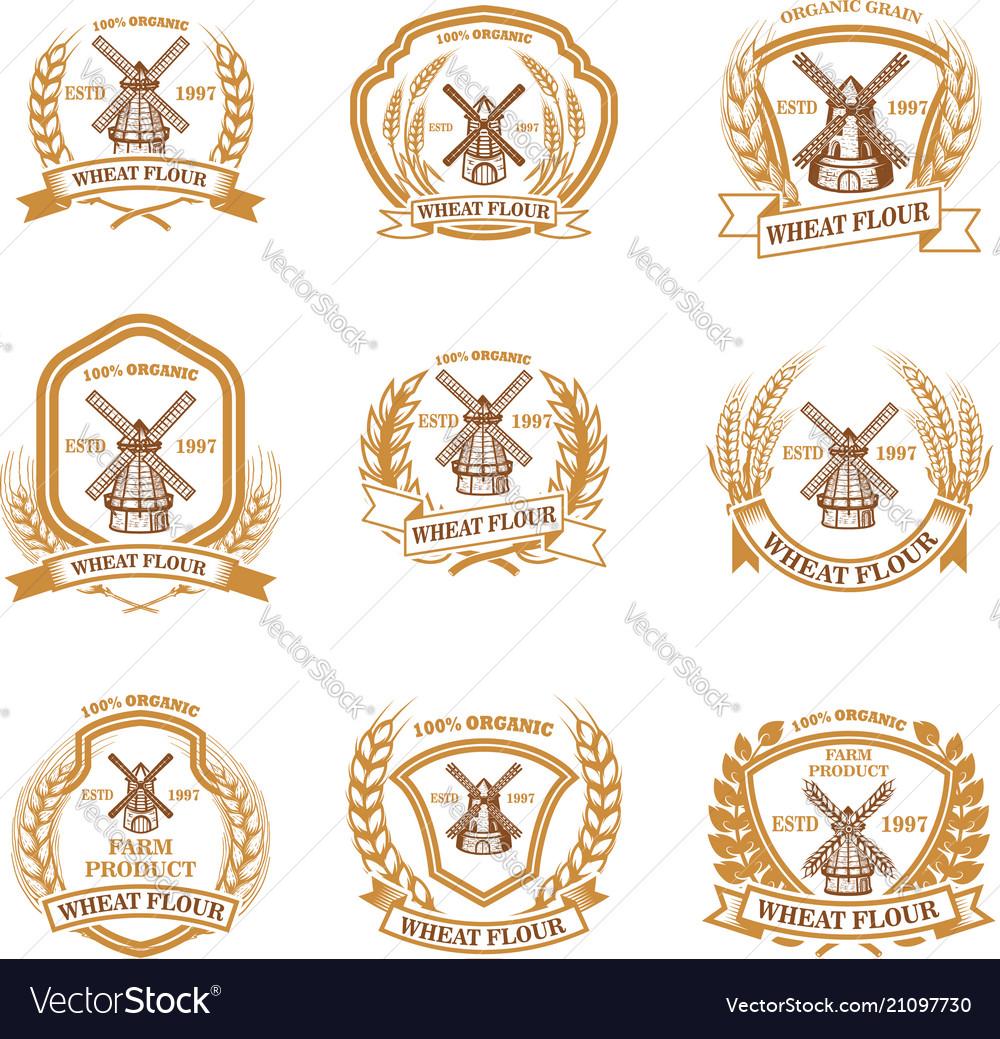 Set of wheat flour emblems design element for
