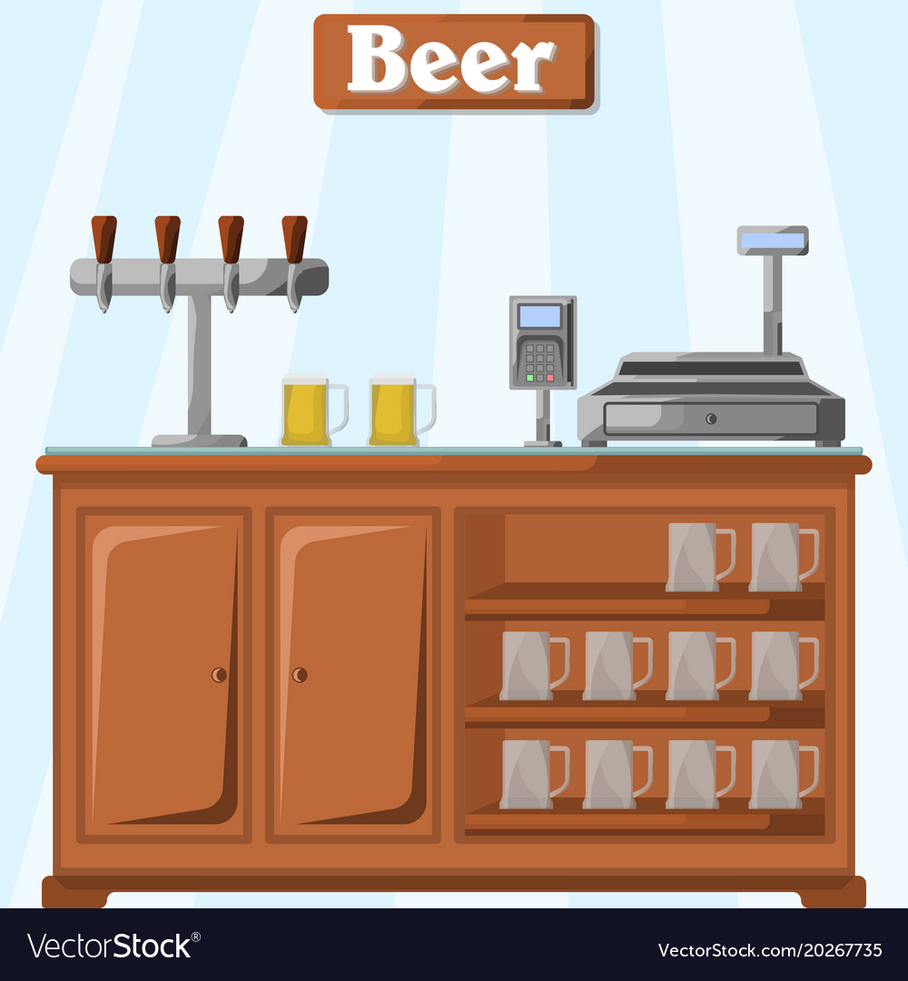 A counter with beer on the part