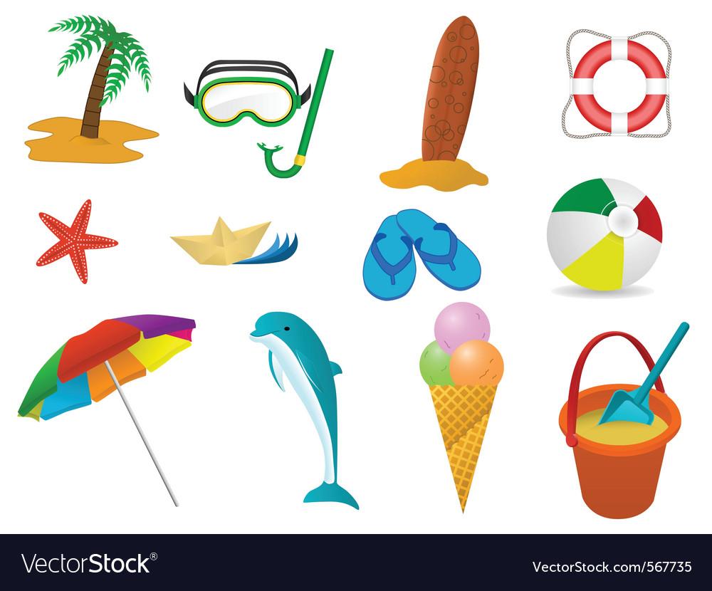 Beach holidays icon set