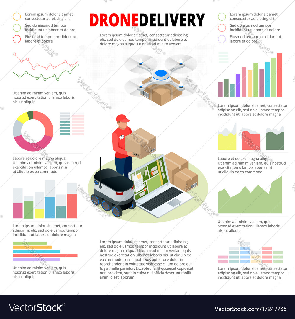 Business infographics drone fast delivery of goods