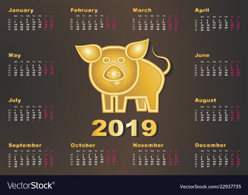 Calendar year golden pig 2019 happy chinese new