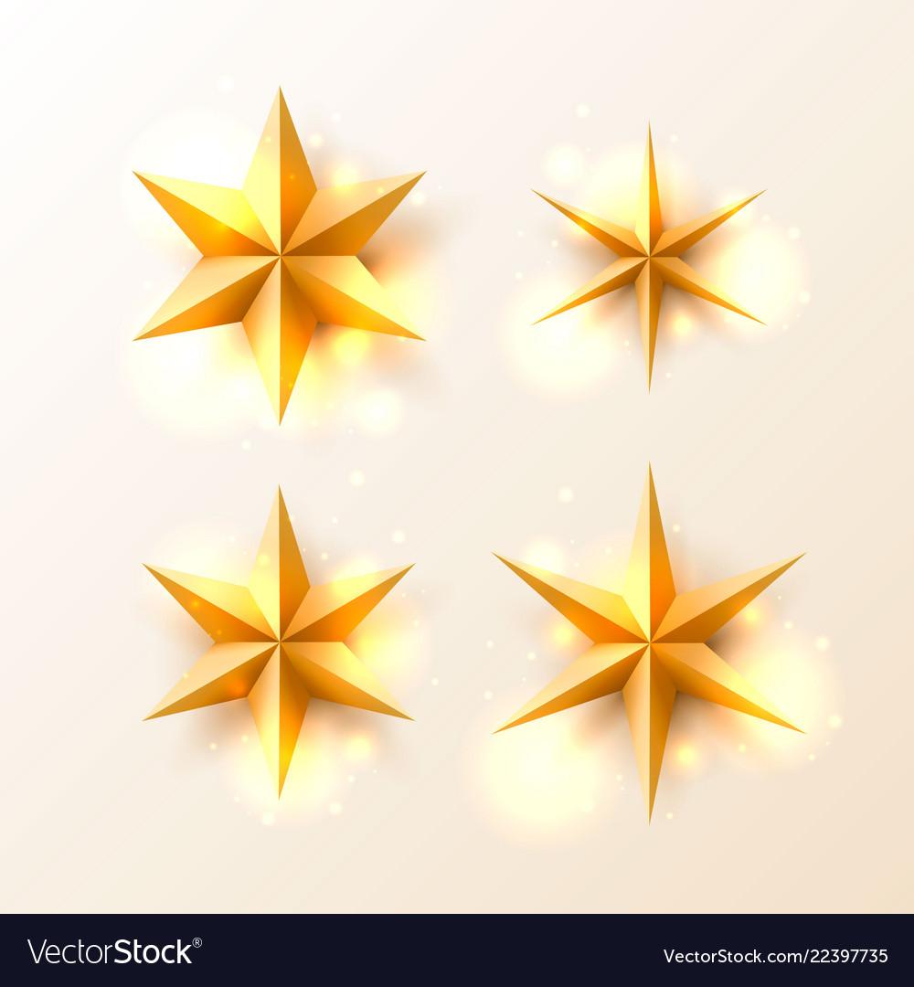 Christmas golden stars set