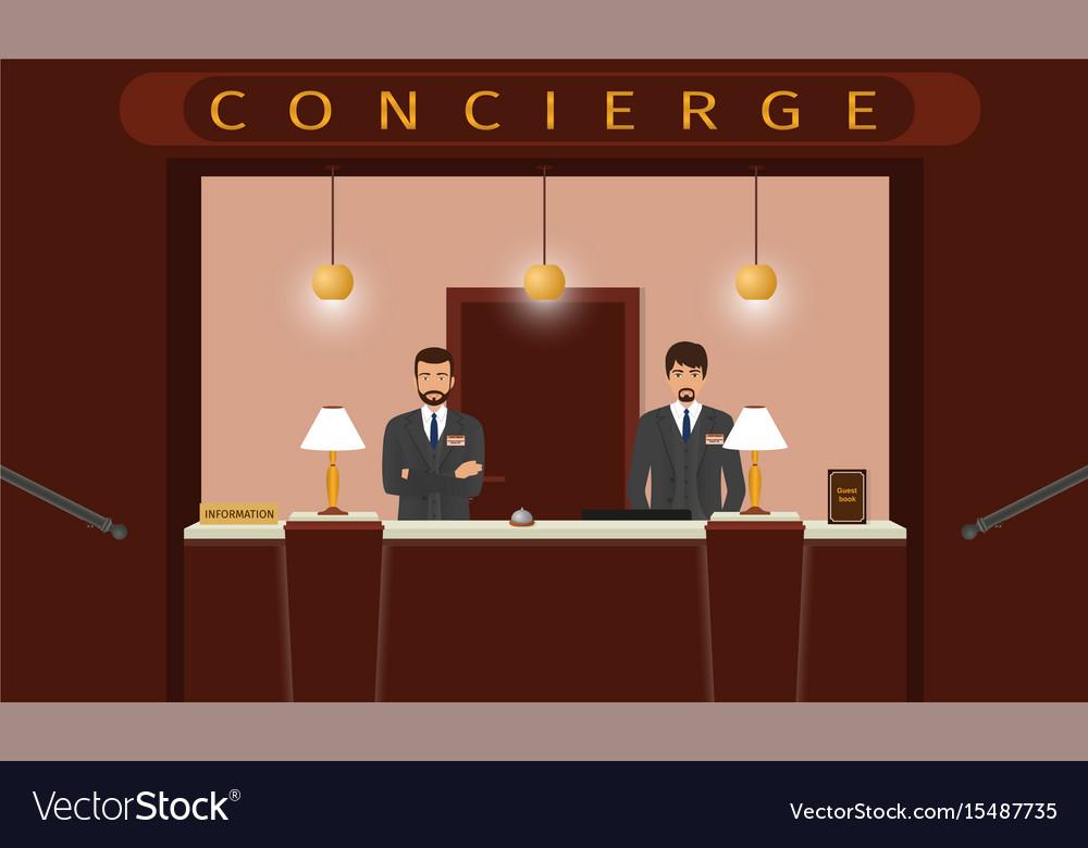 Concierge desk service front view of hotel